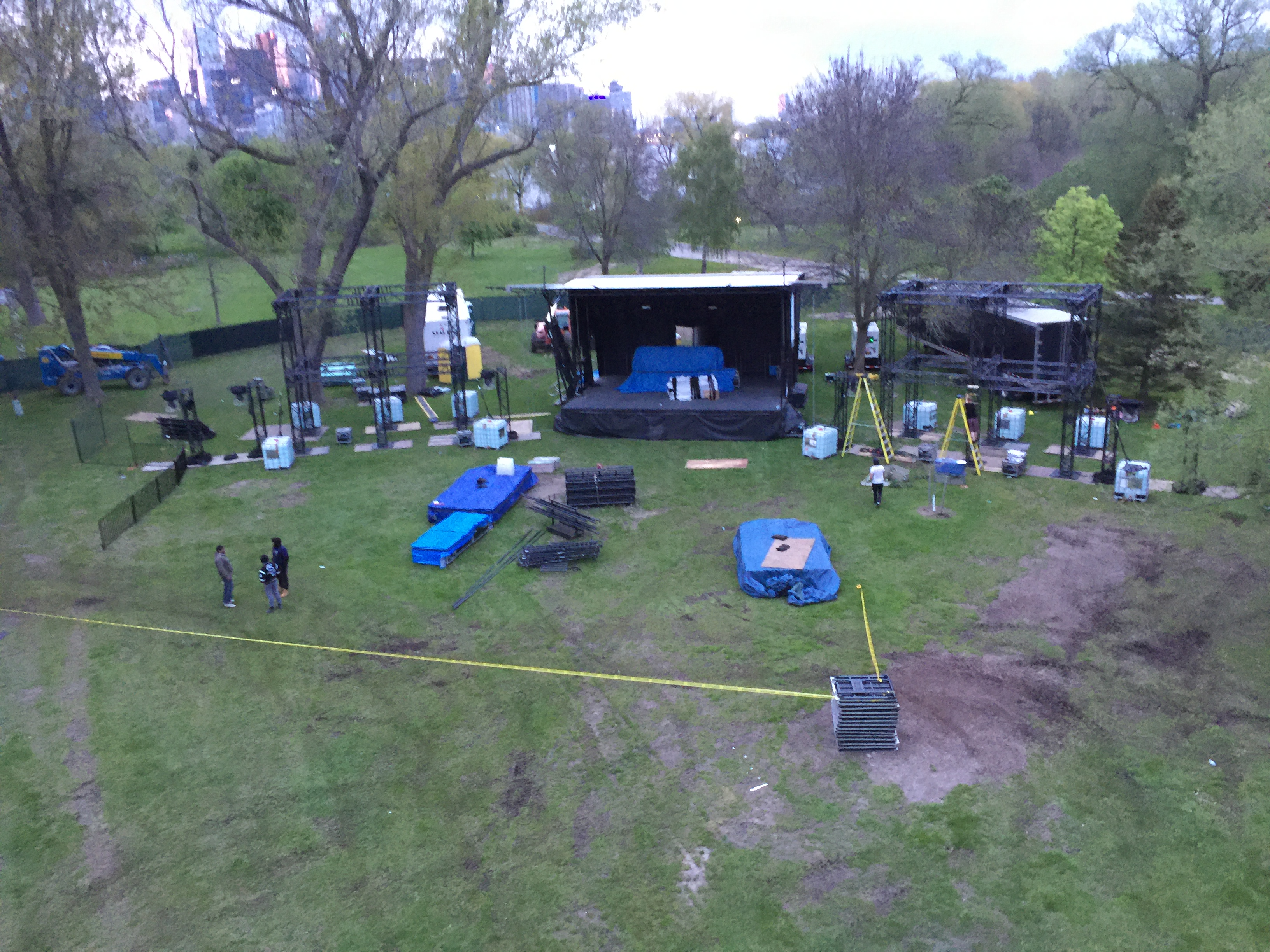 Electric Island in its very early stages of set-up